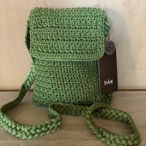 The Sak crochet mini bag  in lime green NWT